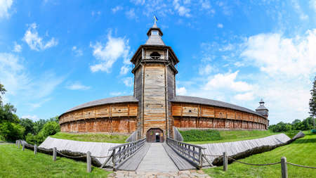 a watchman: wooden fortifications. Baturin Fortress Fortress in Baturin Chernigov region Ukraine. Built in 1625 on the bank of the river Seim Editorial