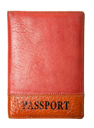 customs official: orange leather cover for passport