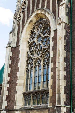 casement: lancet window of the cathedral with a flower