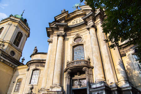 lviv: facade of the Dominican Cathedral in Lviv, monument of Baroque architecture