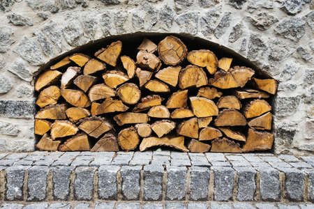 stone fireplace: stone fireplace with firewood without fire