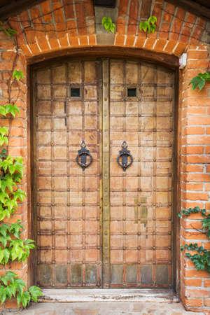 puertas de hierro: antigua puerta de hierro forjado con el golpeador, hiedra crece alrededor de las puertas Foto de archivo