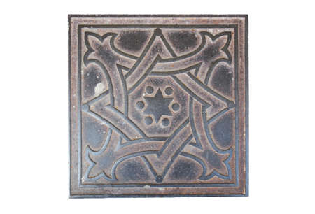 david brown: iron sidewalk tiles with the image of the Star of David Stock Photo