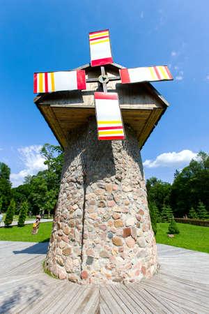 traditional windmill: Traditional windmill in wood in Belarus Stock Photo