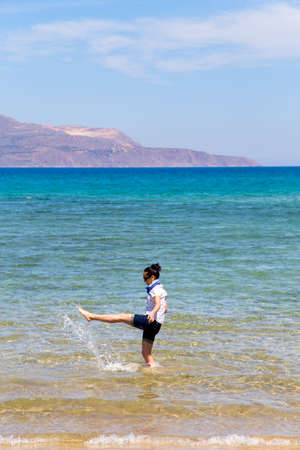 woman squirt: the first day of vacation, girl in clothes, squirted into the sea
