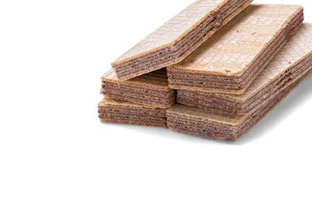 precast: vanilla and chocolate waffles stacked alternately Stock Photo