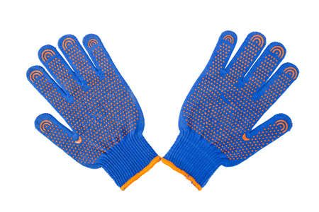 new Work Gloves Isolated On White. blue colors