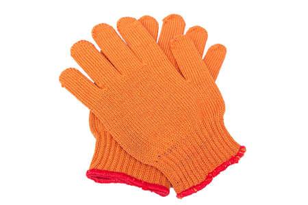 white work: new Work Gloves Isolated On White. orange colors