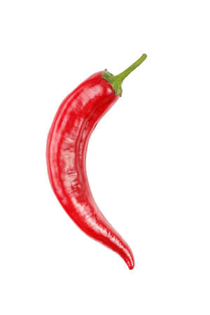 Red chili peppers on a white background, isolation Фото со стока