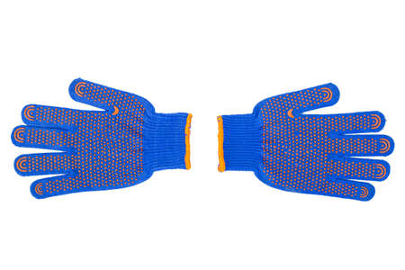 white work: new Work Gloves Isolated On White. blue colors