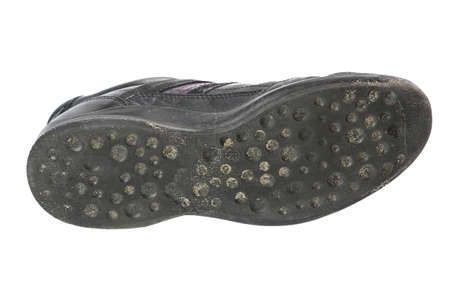and soles: Used shoe insole on white background, Rubber soles shoe Stock Photo
