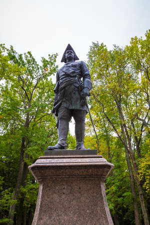 Monument to Peter the Great in Peterhof, September 14, 2016, St. Petersburg, Russia