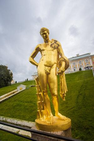 golden statue in Peterhof, September 14, 2016, St. Petersburg, Russia Editorial