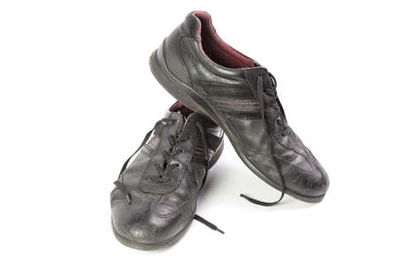 worn black mens shoes isolated isolated on white background Stock Photo