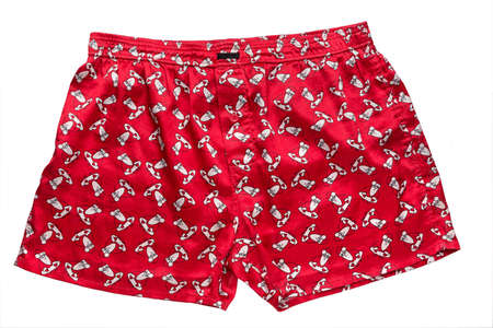 briefs: Red mens briefs with the image of Santa Claus on a white background, isolated Stock Photo