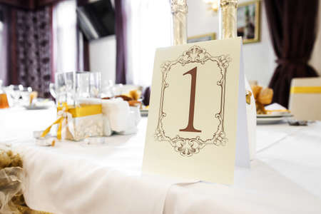formal dinner party: Wedding Table Decoration - Series.On the table is champagne, candles Stock Photo