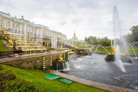 antique fountains in Peterhof, September 14, 2016, St. Petersburg, Russia Editorial