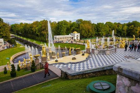 fountains of Peterhof, Grand Cascade, September 14, 2016, St. Petersburg, Russia