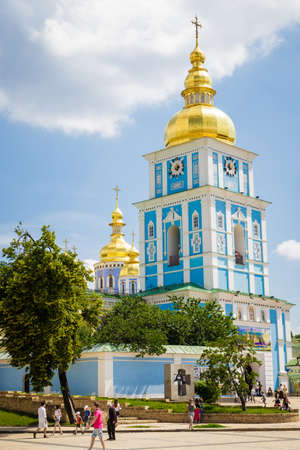 The reconstructed building of the ancient Mikhaylovsky Cathedral, Kiev, Ukraine. Date June 9, 2013. vertical photo