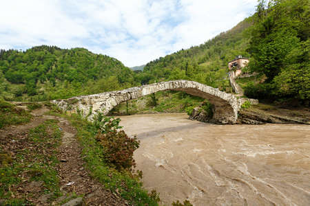 medieval stone bridge over a river in Adjara. Built by Queen Tamara