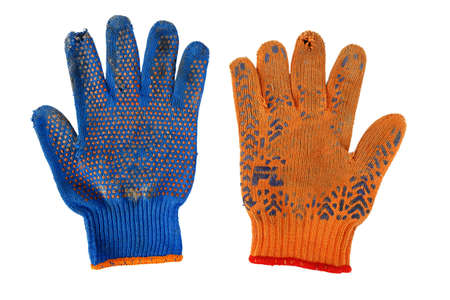 old Work Gloves Isolated On White. orange and blue colors