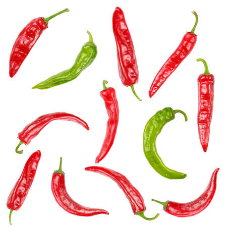 Red and green hot chili pepper isolated on white background Stock Photo