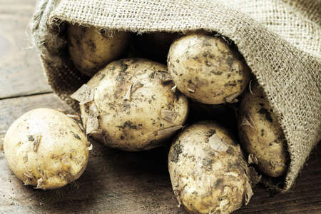 lot of young potatoes in a sackcloth sack on a wooden background 写真素材