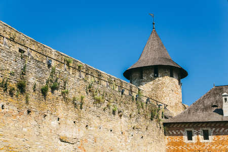 Part of the wall. Medieval fortress in the Khotyn town West Ukraine. The castle is the seventh of Wonder of Ukraine. Editorial