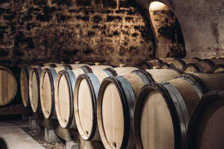 Barrels of wine in a wine cellar, an ancient wine cellar with vaulted brick ceilings, winemaking, space for text Stock Photo