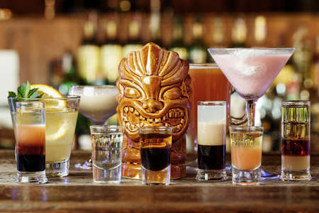 sweet vermouth: different cocktails on the bar, photo for the night club bar map
