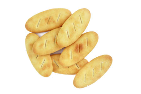 pile cracker biscuit isolated on white background Stock Photo