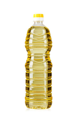 bottle with sunflower oil on white background, isolated.