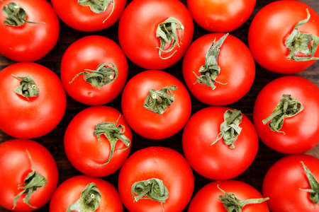 Many fresh ripe tomatoes of the same size bright vegetable background