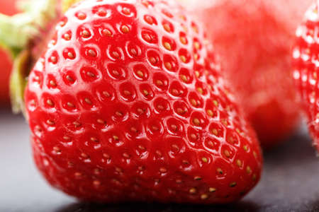 washed strawberry ripe, organic farmer strawberry crop, close-up