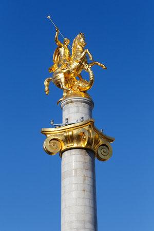 monument of Zurab Tseritilli, George the Victorious in Tbilisi, Georgia