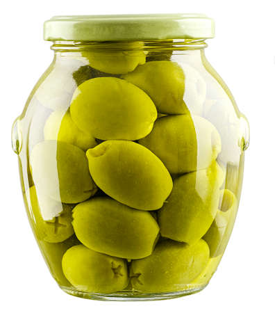 green olives in jar isolated on white background