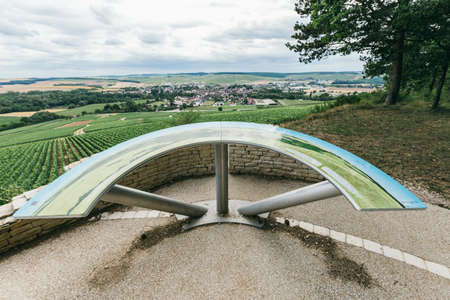 a vista on the grape field in Chablis, a place for photos. Northern Burgundy, France Stock Photo