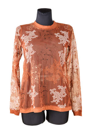 Women's T-shirt coral color with long sleeves on a mannequin.