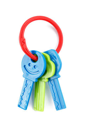 plastic toy keys isolated, colorful teethers for babies