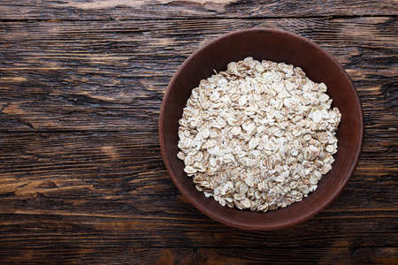 oatmeal, traditional English breakfast. oatmeal in a plate. place for text Stock Photo