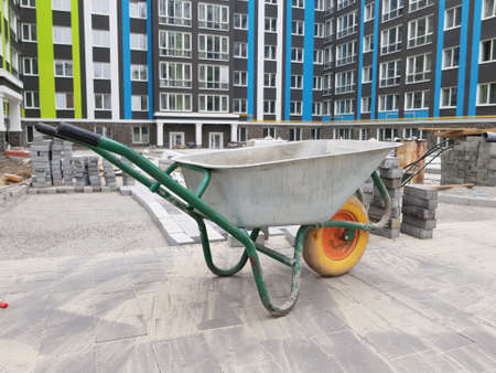 empty cement cart in the yard of the construction site. close-up Archivio Fotografico