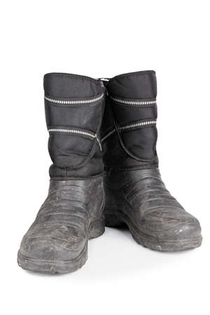 insulated men's rubber boots on a white background. isolated