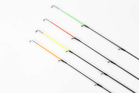 Quivertip, different tips of the feeder rod for bottom fishing on a white background