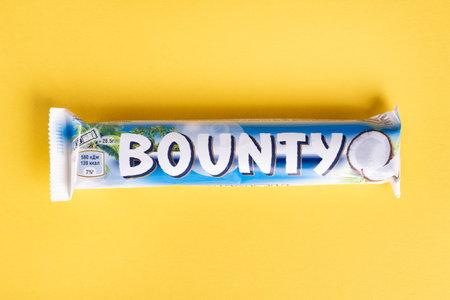 Ukraine, Kiev March 29, 2018. Bounty chocolate bar is a brand of American Mars, Inc.