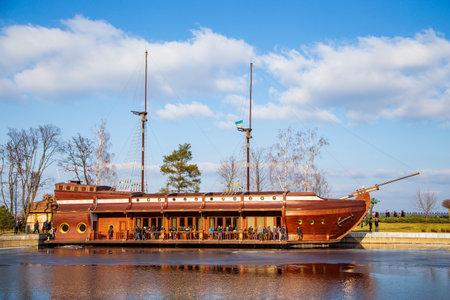 wooden ship Galleon in the park Mezhyhirya. Residence of the former President of Ukraine. Ukraine, Kiev. February 24, 2014