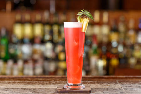 Alcoholic cocktail on the basis of gin, cherry, orange and liqueur