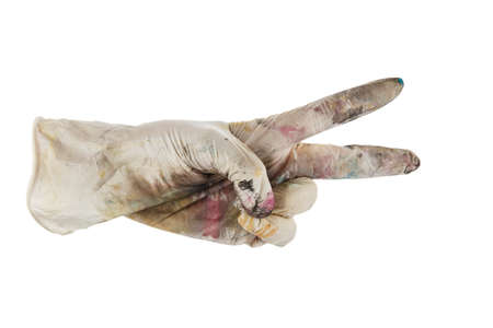 hand in dirty glove shows two fingers.