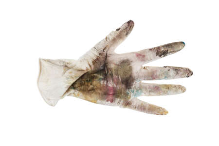dirty soiled rubber gloves isolated on white background. 写真素材