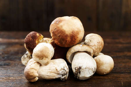 Ceps Boletus edulis over Wooden Dark Background, close up on wood rustic table. Cooking delicious organic mushroom. Gourmet food Imagens