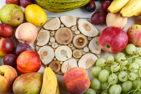 different ripe exotic fruits set. place for text. summer harvest Imagens
